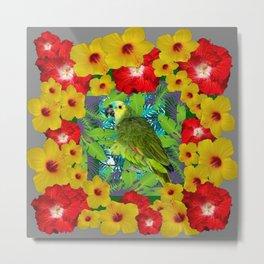 RED-YELLOW HIBISCUS & GREEN PARROT JUNGLE GRAY  ART n Metal Print