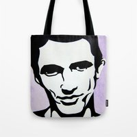 james franco Tote Bags featuring James Franco by Katy Rose