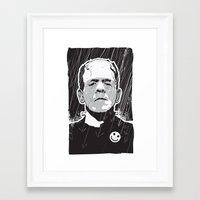 frankenstein Framed Art Prints featuring Frankenstein by Matt Fontaine