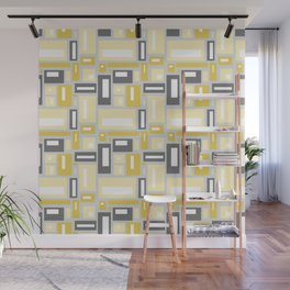 Simple Geometric Pattern in Yellow and Gray Wall Mural