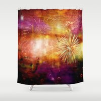 fireworks Shower Curtains featuring fireworks by haroulita