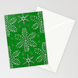 DP044-12 Silver snowflakes on green Stationery Cards