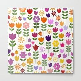 Scandinavian Style Colorful Flowers Pattern Metal Print