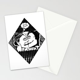Love Hurts - Black & White Illustration of Couple Kissing Stationery Cards