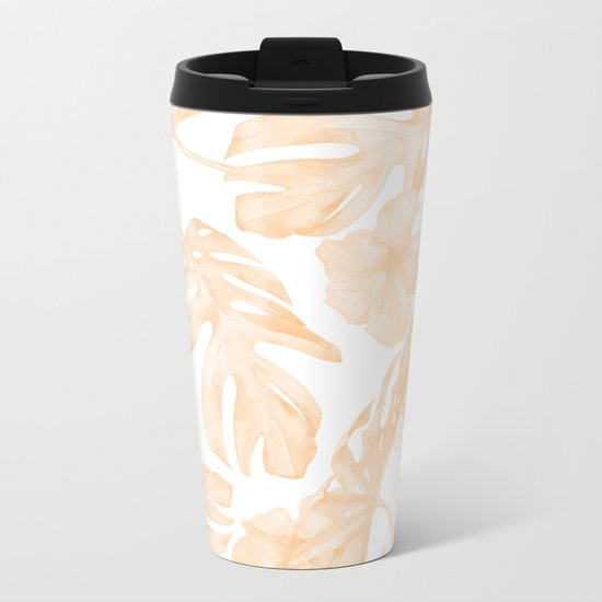 Island Vacation Hibiscus Palm Leaf Coral Apricot Orange Metal Travel Mug