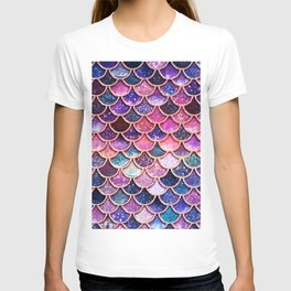 Pink & Purple Trendy Glitter Mermaid Scales T-shirt