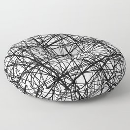 Geometric Collision - Abstract black and white Floor Pillow