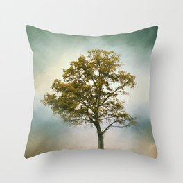 Bleached Sage Green Cotton Field Tree - Landscape  Throw Pillow