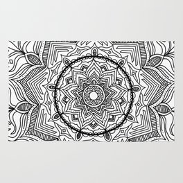 Black Flower Mandala Rug