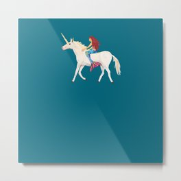 Red Haired Mermaid Rides the Unicorn Metal Print