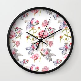 Blush Pink Peony Flowers with Fish Design Wall Clock