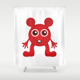 Red Smiley Man Shower Curtain
