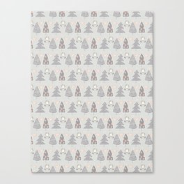 Modern Christmas Trees Doodle Canvas Print