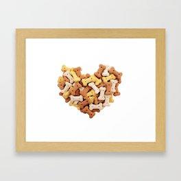 Dog biscuits Valentine heart Framed Art Print
