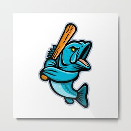 Largemouth Bass Baseball Mascot Metal Print