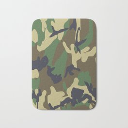 Brown and Green Camo Pattern Bath Mat