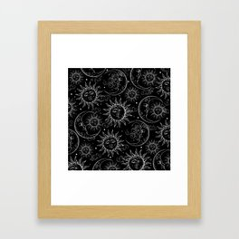 Black Magic Celestial Sun Moon Stars Framed Art Print