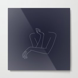 Woman's crossed arms line drawing - Anna Blue Metal Print