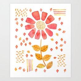 RED YELLOW FLOWER Art Print