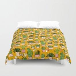 Cactus Cat Yellow Garden Duvet Cover