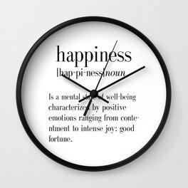 Happiness Definition, Adult, College Dorm Room Decor, Dorm Wall Art, Dictionary Art Print, Office De Wall Clock