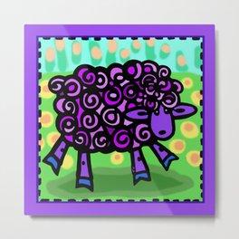 Purple Sheep Metal Print