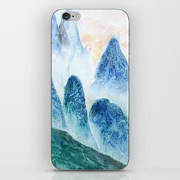 dawn in the mountain forest iPhone Skin