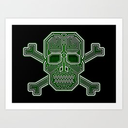 Hacker Skull Crossbones (isolated version) Art Print
