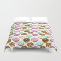 junk food Duvet Covers featuring Donuts - junk food treat funny illustration with happy food face doughnuts pastry bakery by CharlotteWinter
