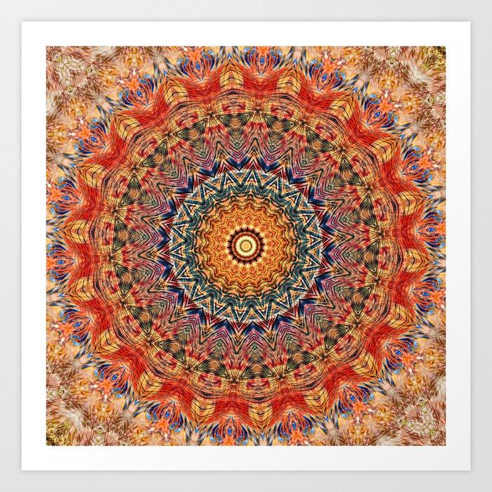 Indian Summer I Colorful Boho Feather Mandala Art Print By Uteb