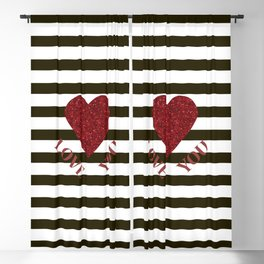 LOVE YOU Valentine print. Red glitter heart and black stripes congratulation card Blackout Curtain