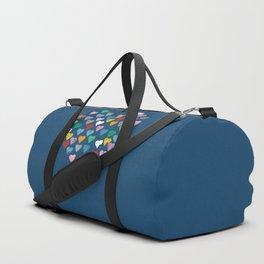 Distressed Hearts Heart Navy Duffle Bag