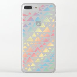 mountains, low hills, tents, trees rainbow Clear iPhone Case