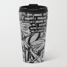 Black and White Palm Flowers by my Mom Metal Travel Mug
