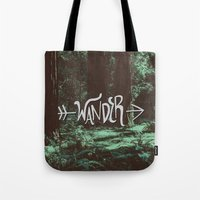 wander Tote Bags featuring Wander by Leah Flores