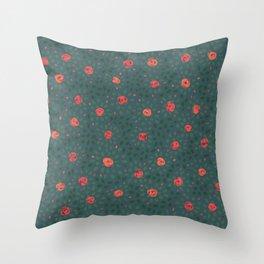 Dark Floral Coral Pink Roses Throw Pillow