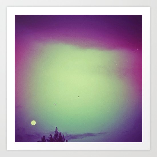 Moon, trees & birds Art Print