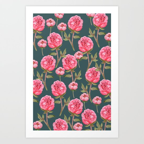 Pink Peonies On Green Background Art Print