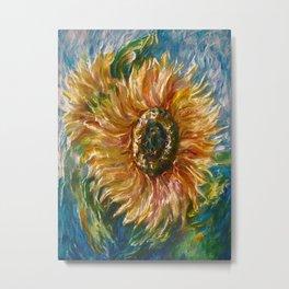 Sunflower Joy Palette Knife Painting  Metal Print