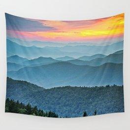 Mountain Range Sunset Wall Tapestry