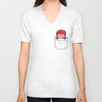 ponyo V-neck T-shirts featuring Ponyo in a pocket by Samtronika