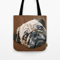 pug Tote Bags featuring pug by Ancello