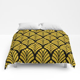 Tangiers Luxurious Black and Gold Art Deco Pattern Comforters