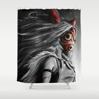 princess Shower Curtains featuring Miyazaki's Mononoke Hime Digital Painting the Wolf Princess Warrior Color Variation by Barrett Biggers
