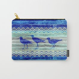 Rustic Navy Blue Coastal Decor Sandpipers Carry-All Pouch