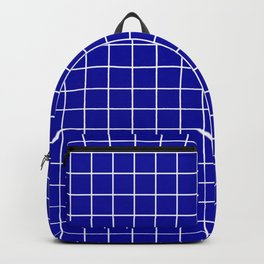 Duke blue - blue color - White Lines Grid Pattern Backpack