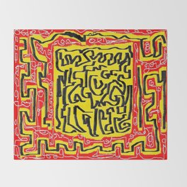 Laberinto red yellow Throw Blanket