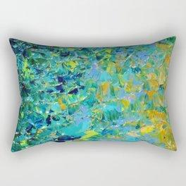 BEAUTY BENEATH THE SURFACE - Stunning Ocean River Water Nature Green Blue Teal Yellow Aqua Abstract Rectangular Pillow