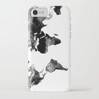 map of the world iPhone & iPod Cases featuring World Map  Black & White by Whimsy Romance & Fun