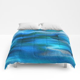 Waves of Abstraction (azure blue) Comforters
